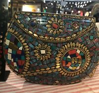 Embellished Stone Metal Canteen Crossbody Bag Mosaic Purse Chain Vintage Clutch