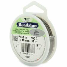 """Beadalon 7 Strand BRIGHT .018"""" Bead Stringing Wire 100ft Silver Color Flex Wire"""