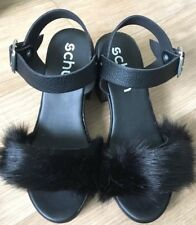Black Shoes, Schuh Black Faux Fur across the top, chunky heel size 3 BNWB