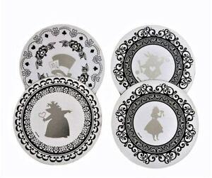 ALICE IN WONDERLAND Coasters Cork Disney White Silver Round Home Fairytale