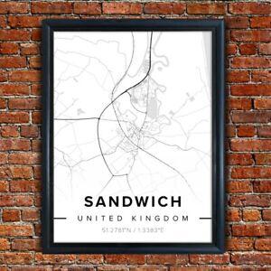Map of SANDWICH, KENT Poster Black and White Map Novelty Gift Framed Art Print