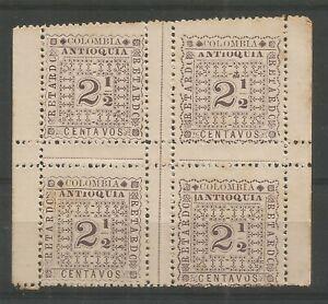 COLOMBIA - ANTIOQUIA 1901-02 Late Fee 2 1/2c purple, inter-pane block/4, SG L137