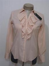 Polo Ralph Lauren Women's Button Ruffle Stripe Shirt Blouse Pink Cream Small $90