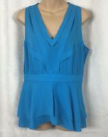 Diane Von Furstenberg 100% Silk Blue Sleeveless Top SZ 10