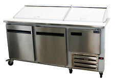 "COMMERCIAL 72"" SALAD & SANDWICH REFRIGERATOR PREP TABLE COOLER"