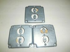 LOT OF 3 STEEL CITY RS 12 GALVANIZED STEEL DUPLEX RECEPTACLE OUTLET  BOX COVERS