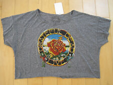 BRAND NEW!! tri blend GRATEFUL DEAD ladies GYM rayon BELLY T SHIRT soft LARGE