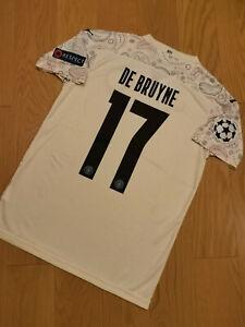 Manchester City Champions Third Vintage Soccer Jersey #17 De Bruyne Men Size [L]