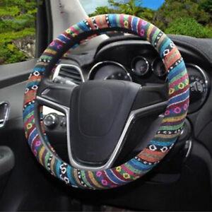 "38cm 15"" Automotive Boho Ethnic Flax Car Accessory Steering Wheel Cover Grip"