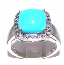 Sleeping Beauty Turquoise + Blue Diamond Accent Sterling Ring - 9  🌟