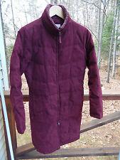 L.L. Bean Womens Ladies S Burgundy Plum Goose Down Quilted Zip Long Coat Jacket