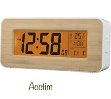 ACCTIM 71851 Otto Radio Controlled LCD Alarm Clock Bamboo New
