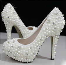 Pearls Crystal Wedding shoes Bridal bridesmaids high heel pump wedge platform