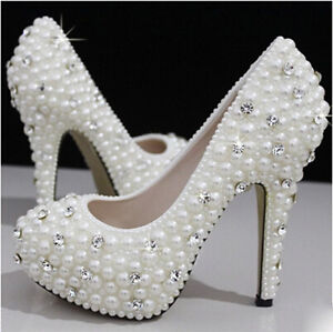 Pearls Crystal Wedding shoes Bridal bridesmaids high heel pump wedge platform