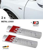 2 x METAL EMBLEMA AUDI 3D LOGO S LINE  SILVER MATE  ADHESIVO + REGALO