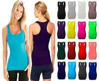 Ladies Plain Vest Bodycon Racer Back Muscle Vest Womens Sleeveless Gym Top racer