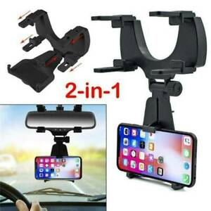Car Rear View Mirror Mount Holder Stand Cradle Bracket For Cell Mobile Phones-UK