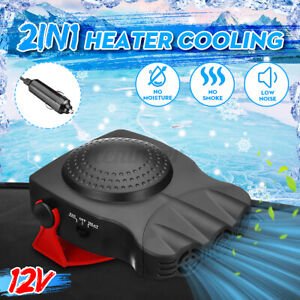 2 In 1 12V Portable Car Ceramic Heater Heating Fan Demister Defroster Truck Van