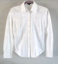 Burberry London Solid White Long Sleeve Button Down Blouse, Made IN CHINA
