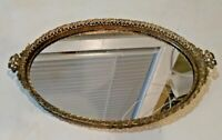 """Vintage Small Oval  Brass  Vanity Tray with Mirror bottom Filigree edge 12"""""""