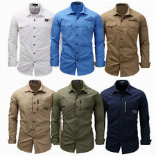 Stylish Men Army Military Casual Shirt Long Sleeve Military Style Shirts M-XXXL