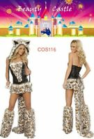 Furry Halloween Wolf Women Cosplay Leopard Cat Tail Animal Party Costume COS116