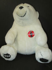 "1994 Coca Cola White Polar Bear Plush 12"" Sitting Stuffed Animal"