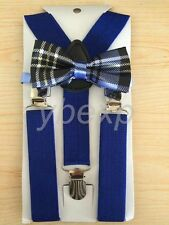 Elastic Blue Suspender and Bow Tie Sets for Boys Girls Kids - Ship from USA