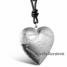 Love Heart Faith Charm Photo Picture Frame Locket Pendant Necklace Womens Gift