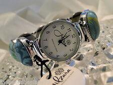 NEW JILZARA Premium Handmade Clay Beads EMERALD GREEN BLUE OVAL Watch