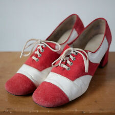 Vintage 60s Red White Suede Leather Cap Toe Saddle Oxford Granny Pumps 5.5B 35.5