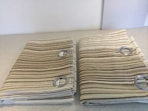 Pair of 46 inch x 90inch Fully Lined Curtains - Cream With Stripes