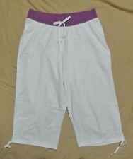 Plus JMS Just My Size French Terry 2 Tone Capris Capri Pants 1X White/Purple NEW