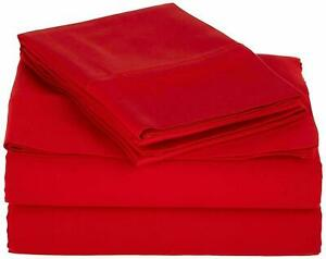 Attached Waterbed Sheet Set - Soft Pima Cotton 1000 TC Red Solid