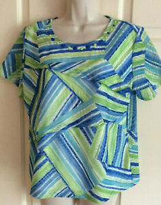 ALFRED DUNNER Short Sleeve Layered Blue Green Beaded Top Blouse - Sz PM  (NWOT)