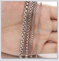 """18""""-28"""" Stainless Steel Fashion Square Rolo Chain Necklace Women Men 2/3/4/5mm"""