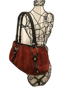 AUTHENTIC Brighton RED Italian Leather Suede Purse With Silver Trim