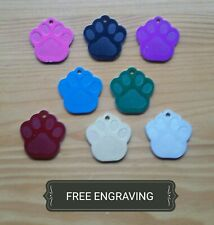 FREE ENGRAVING (PERSONALIZED) Aluminum Paw Cat Dog Pet Collar Tag Charm