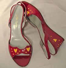 Cynthia Rowley Fuchsia Patent Leather Sandal Wedge Yellow Hearts-6.5-Md.in Italy