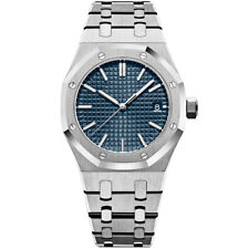 Mens Automatic Watch Royal Oak Parnis Blue Dial 41mm Brushed Steel Japan MIYOTA