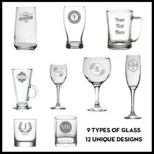 Personalised Engraved Glass Your Own Customised Text Etched Glassware Drink Gift