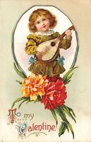 Clapsaddle Valentine~Regency Boy Plays Lute in Carnation Vignette~Embossed~1911
