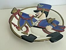 """Fitz and Floyd Essentials Christmas Solider Horn Ceramic Canape Plate 8.5""""D Chip"""
