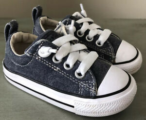 CONVERSE Size 6 Children's/Toddler Blue Denim Slip On (elastic) Sneakers Shoes