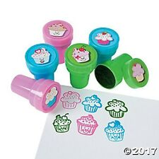 6 Cupcake Cake Self Ink Stampers Stamps Kids Birthday Party Favors Gift