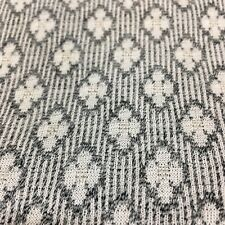 Polyester Gray White Fabric Abstract Floral Geometric Print Double-knit 2 YDS