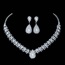 Crystal Diamante Wedding Bridal Bride Necklace Earrings Jewellery Set Party Prom