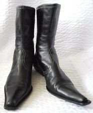 FABI Black Leather Pointy Toe Ladies Ankle Boots Size 38