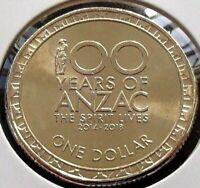 100 Years of ANZAC Coin 2014 $1 Australian One Dollar - UNC EX MINT ROLLS