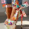 Escarpin sexy chaussures imprimée  talons hauts chaussures sandales femmes été